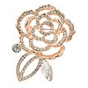 Rose Tone Metal Open Crystal Rose Brooch - 55mm