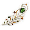 Large Clear, Citrine, Olive Crystal, CZ Peacock Feather Brooch In Rhodium Plating - 10cm