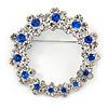 Rhodium Plated Clear/ Sapphire Blue Crystal Wreath Brooch - 45mm