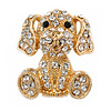 Gold Plated Clear Crystal Puppy Dog Brooch - 25mm