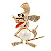 Crazy Mouse Crystal, Pearl Brooch In Gold Plating - 40mm