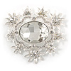 Light Silver Tone Clear Glass Stone Corsage Brooch - 65mm