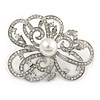Bridal/ Wedding/ Prom Asymmetric Crystal Flower Brooch In Rhodium Plating - 60mm