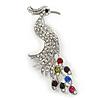 Exotic Multicoloured Crystal Bird Brooch In Rhodium Plating - 60mm