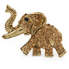 Vintage Inspired Citrine Coloured Austrian Crystal Running Elephant Brooch In Antique Gold Tone - 55mm W