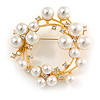 White Glass Pearl, Clear Crystal Wreath Brooch In Gold Tone Metal - 55mm D