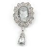 Bridal/ Prom/ Wedding Clear Glass Crystal Oval Charm Brooch In Rhodium Plating - 85mm L