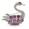 Clear/ Amethyst Crystal Swan Brooch In Rhodium Plating - 45mm