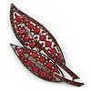 Large, Vintage Inspired Red Acrylic/ Crystal Bead Two Leaf Brooch In Gun Metal Tone - 10cm L