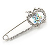 Rhodium Plated Clear Crystal Apple Safety Pin Brooch - 65mm L