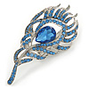 Exotic Blue Crystal 'Peacock Feather' Brooch/ Hair Clip In Rhodium Plating - 8cm L