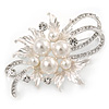 Exquisite Glass Pearl Austrian Crystal Floral Brooch In Light Silver Tone - 60mm L