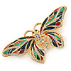 Multicoloured Enamel, Crystal Butterfly Brooch In Gold Tone Metal - 80mm W