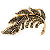 Exquisite Grey Crystal Leaf Brooch In Gold Tone - 60mm