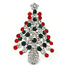 Holly Jolly Red, Green, Clear Austrian Crystals Christmas Tree Brooch/ Pendant In Rhodium Plating - 55mm L