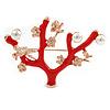 Red Enamel Sakura Tree In Rose Gold Tone Metal Brooch/ Pendant - 55mm W