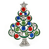 Holly Jolly Red, Green, Clear, Blue Austrian Crystals Christmas Tree Brooch In Silver Tone - 50mm L