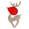Clear Crystal, Red Cz Christmas Reindeer Brooch In Gold Plating - 45mm