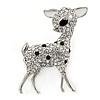 Rhodium Plated Clear/ Black Crystal Fawn Reindeer Brooch - 45mm