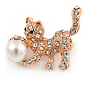 Small Crystal Kitty with Pearl Ball Brooch In Rose Gold Metal - 30mm
