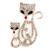 Beautiful Fox Family Crystal Brooch In Rose Gold Metal - 50mm L