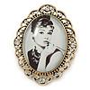 Audrey Hepburn Portrait Crystal Brooch In Gold Tone Metal - 55mm L