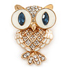 Funky Crystal, White Enamel Owl Brooch In Gold Tone Metal - 40mm L