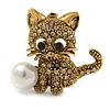 Light Topaz Crystal Little Kitten with Pearl Bead Brooch In Antique Gold Tone Metal - 30mm L