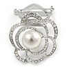 Diamante Faux Pearl Rose Scarf Pin/ Brooch In Silver Tone - 40mm Across
