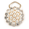 White Faux Pearl & Clear Diamante Round Scarf Pin/ Brooch In Gold Finish - 32mm D