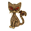 Sweet Topaz Crystal Cat Brooch In Antique Gold Tone Metal - 35mm L