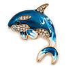 Teal Blue Enamel Crystal Shark Brooch In Gold Tone Metal - 35mm