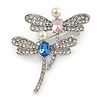 Two Crystal Dragonfly Brooch In Silver Tone Metal - 45mm