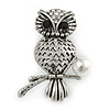 Vintage Inspired Crystal Owl Brooch In Aged Silver Tone - 40mm L