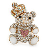 Small Clear Crystal Gold Tone Metal Royal Teddy Bear Brooch - 35mm L