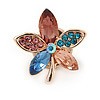 Tiny Multicoloured Flower Pin Brooch In Gold Tone Metal - 20mm