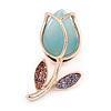 Tiny Light Blue Tulip Pin Brooch In Gold Tone Metal - 30mm