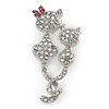 Two Little Cats Small Clear Crystal Brooch In Silver Tone Metal - 45mm L