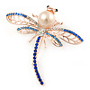 Clear/ Navy/ Light Blue Crystal, Faux Pearl Dragonfly Brooch In Rose Gold Tone Metal - 55mm W