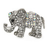 Small Crystal Elephant Brooch In Silver Tone Metal - 35mm