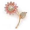 Large Clear Crystal Pink Resin Stone Sunflower Brooch In Gold Plated Metal - 60mm L