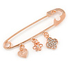 Rose Gold Tone Metal Safety Pin Brooch with Crystal Charms - 65mm L