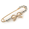 Gold Plated Clear Crystal Safety Pin Brooch With Bow Motif - 65mm L