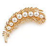 Gold Plated White Faux Glass Pearl Feather Pendant/ Brooch - 70mm L