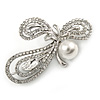 Clear Crystal, Faux Pearl Fancy Bow Brooch In Silver Tone Metal - 60mm L