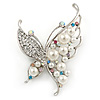 Silver Tone Crystal Faux Pearl Asymmetrical Wings Butterfly Brooch - 60mm