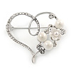 Clear Crystal, Faux Pearl Open Heart Brooch In Silver Tone Metal - 40mm