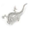 Rhodium Plated Clear Crystal Lizard Brooch - 55mm L
