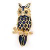 Small Enamel Owl Brooch In Gold Plated Metal (Dark Blue/ Dark Green) - 35mm L
