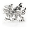 Small Textured Dragon Brooch In Rhodium Plated Metal - 26mm Across